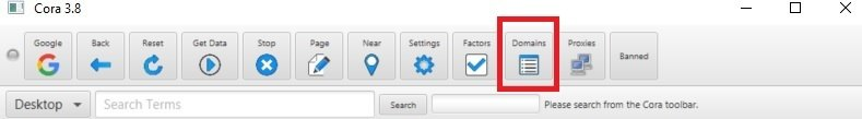 Cora software domains button