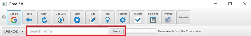 Cora Software Search Terms box
